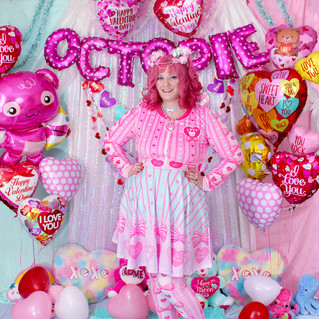 "💖 Pink ""Lacy Heart"" Velvet Crop Jacket 💖 Mint ""Lacy Heart"" Skater Dress 💖 Pink ""Lacy Heart"" Velvet Leggings"