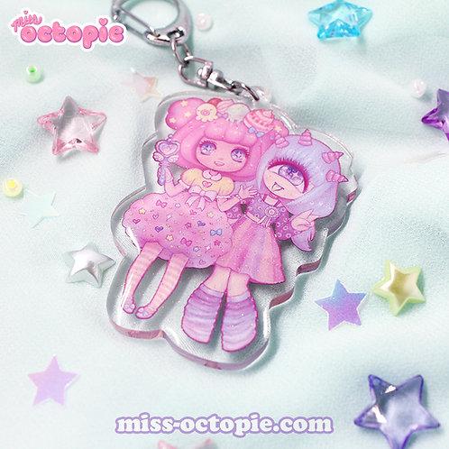 Mascot Duo Glitter Keychain