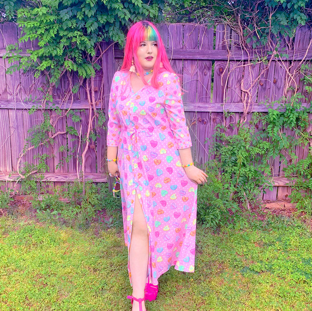 "🌸 Pink ""Lovely Candy Heart"" Button-up Maxi Dress"
