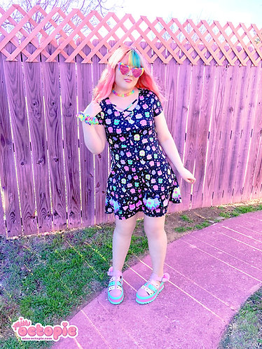 """""""OctoParty"""" Short Sleeve Strappy Dress"""