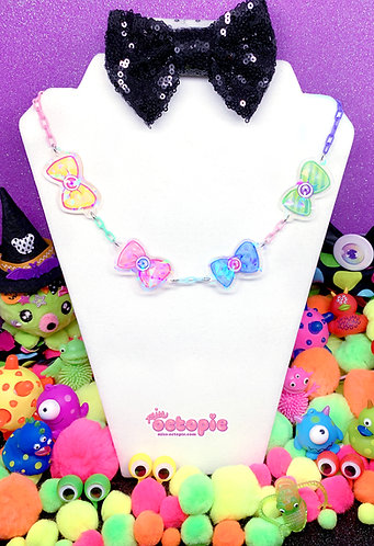 """Fashion Monster Bows"" Holographic Multi Charm Necklace"