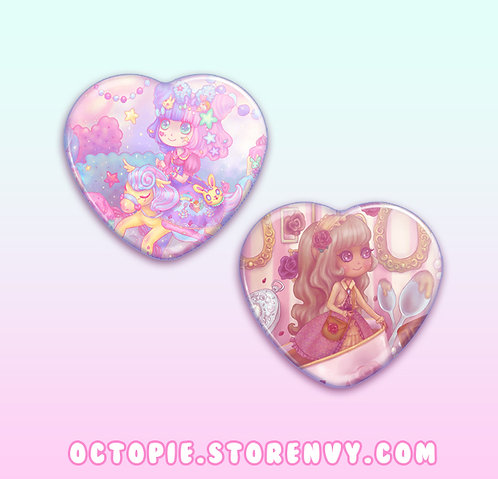 "Lolita Adventure 2.25"" Heart Button"