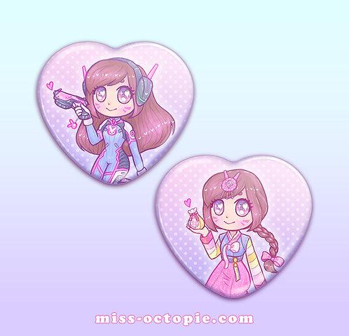 """D.VA 2.25"""" Heart Button"""