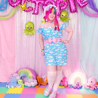 """🌈 """"DreamyOcto"""" Chiffon Romper 🌈 Green Decora Octopie hair accessory"""