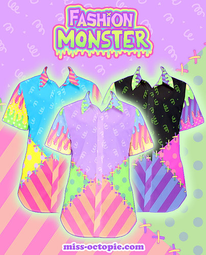 """Fashion Monster"" Stitches Button-Up Shirt"