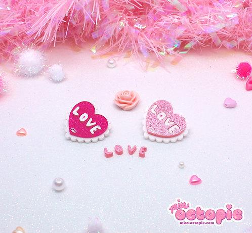 Lacy Heart Glitter 2-way clip