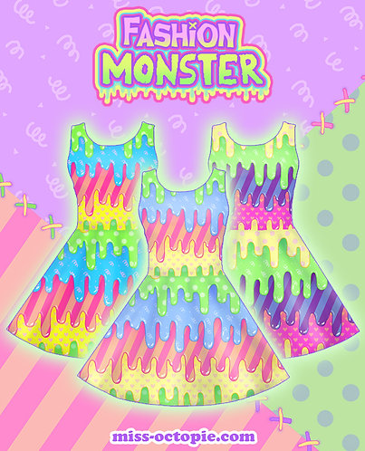 """Fashion Monster"" Drippy Sleeveless Skater Dress"