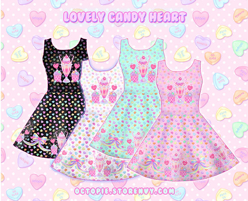 """Lovely Candy Heart"" Sleeveless Skater Dress"
