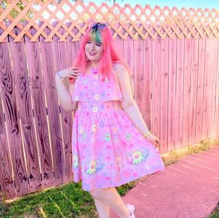 "🌸 Pink ""OctoParty"" Frilly Strap Dress"
