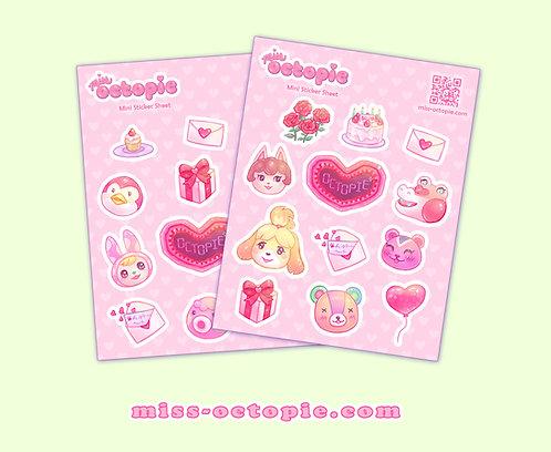 Be My Valentine Animal Crossing Vinyl Sticker Sheet