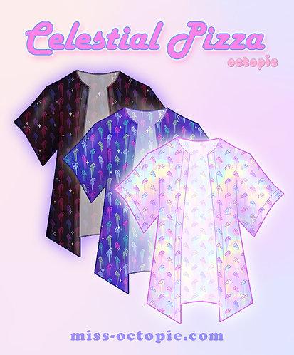 """""""Celestial Pizza"""" Chiffon Kimono Peignoir"""