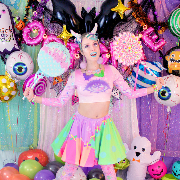 """💕Pink """"Starry Eyes"""" Long Sleeve Crop Top 💕Pastel """"Fashion Monster"""" Stitches Skirt 💕Pink """"OctoParty"""" Leggings"""