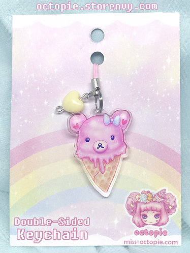 """Pink Bearcone"" Keychain/Cell Phone/DS Charm"