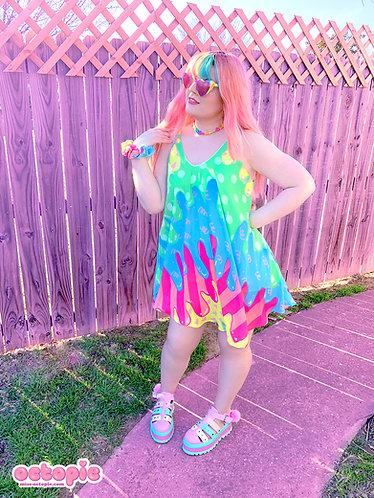"""Fashion Monster"" Drippy Chiffon Strappy Summer Dress"
