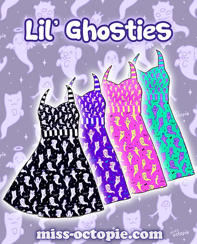 """Lil' Ghosties"" Halter Swing Dress"