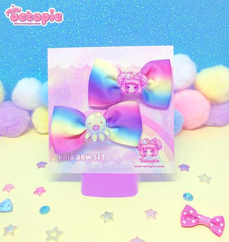 """Octopie"" Rainbow Hair Bow Set"