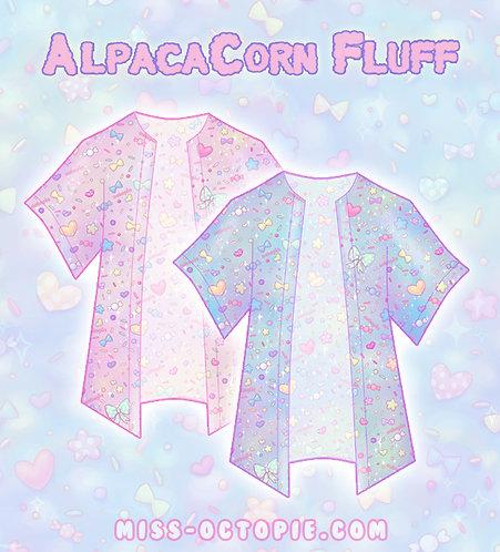 """AlpacaCorn Fluff"" Chiffon Kimono Peignoir"