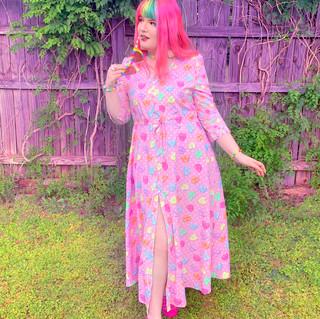 "🌸 Pink ""Lovely Candy Heart"" Button-up Maxi Dress"