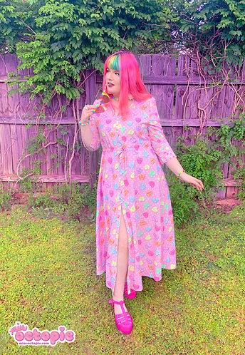 """Lovely Candy Heart"" Button-Up Maxi Dress"