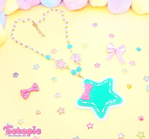 Mint Star Large Glitter Necklace