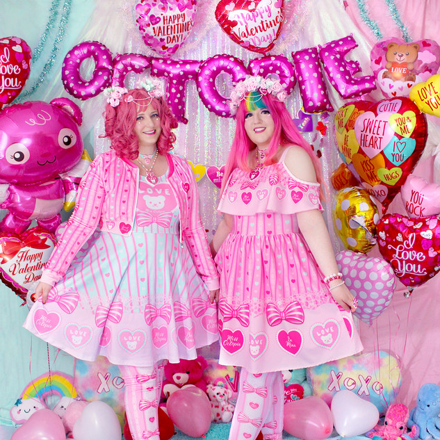 """💖 Pink """"Lacy Heart"""" Velvet Crop Jacket 💖 Mint """"Lacy Heart"""" Skater Dress 💖 Pink """"Lacy Heart"""" Velvet Leggings 💖 Pink """"Lacy Heart"""" Frilly Strap Dress 💖 Pink """"Lacy Heart"""" Tights"""