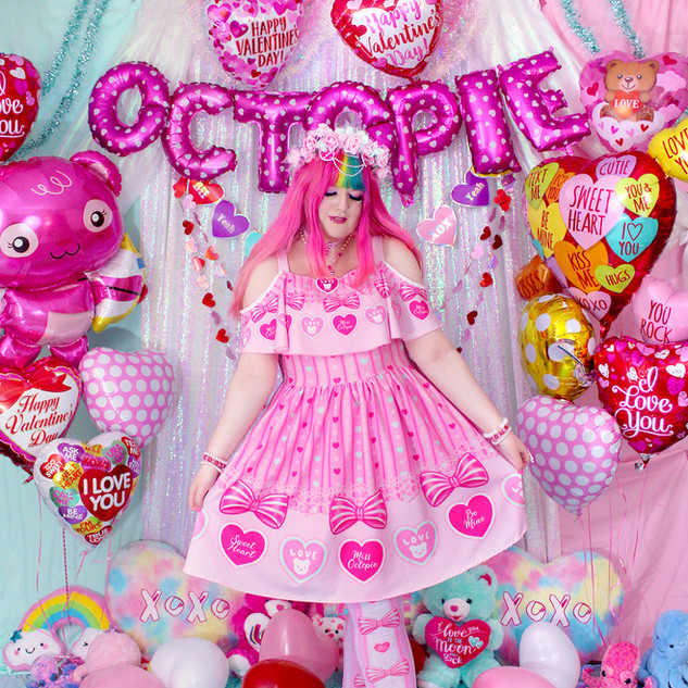 """💖 Pink """"Lacy Heart"""" Frilly Strap Dress"""