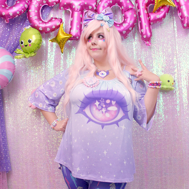 "💙top: NEW Blue ""Starry Eyes"" Cut-Out Flutter Tee 💙bottom: Neon ""Celestial Pizza"" leggings"