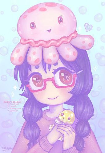 """Jellyfish Tsukimi"" Art Print"