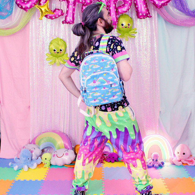 "🌈 ""DreamyOcto"" Backpack 🌈 Black ""OctoParty"" T-Shirt  🌈 Dark ""Fashion Monster"" Drippy Jogger Sweatpants 🌈 ""Lil' Ghosties"" Hi-Top Shoes"