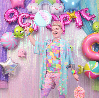 """🌈top: """"Bearie Rainbow"""" T-Shirt 🌈outerwear: NEW Blue """"OctoParty"""" Chiffon Kimono Peignoir 🌈bottom: Pink """"Lovely Candy Heart"""" shorts 🌈tights: Purple """"OctoParty"""""""