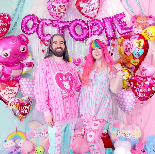 """💖 Pink """"Lacy Heart"""" Sweater 💖 Mint """"Lacy Heart"""" Sweatpants 💖 Mint """"Lacy Heart"""" Lace-up Flare Top 💖 Pink """"Lacy Heart"""" Velvet Leggings"""