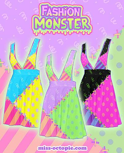 """Fashion Monster"" Stitches Plunge Pinafore Skirt"
