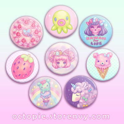 "Octopie Kawaii 1.5"" Button"
