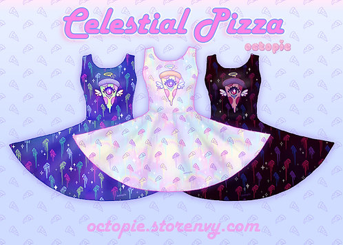 """""""Celestial Pizza"""" Sleeveless Skater Dress"""