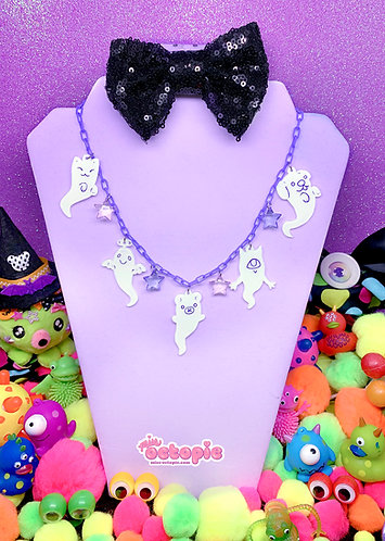 """Lil' Ghosties"" Glow-in-the-dark Multi Charm Necklace"