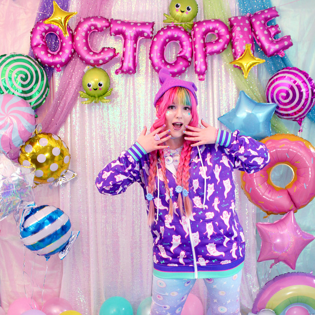 "💜outerwear: Purple ""Lil' Ghosties"" Hoodie 💙bottoms: NEW Blue ""Starry Eyes"" Velvet Leggings 💖shoes: NEW Pink ""Lovely Candy Heart"" Hi-Tops"