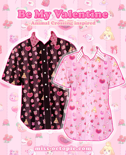 """""""Be My Valentine"""" Animal Crossing Button-Up Shirt"""