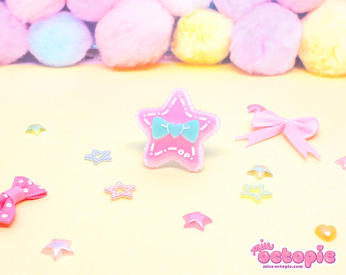 Pink Star Glitter Ring