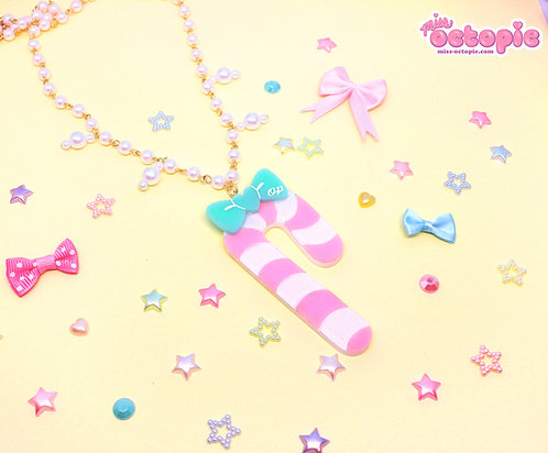Pastel Candy Cane Large Glitter Necklace