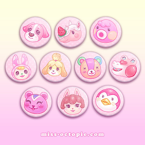 """Be My Valentine"" Animal Crossing 1.5"" Button"