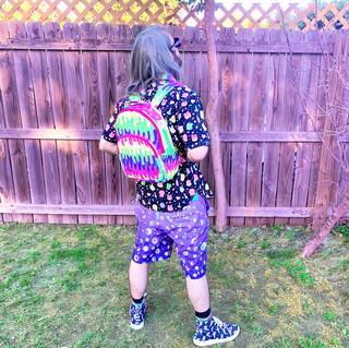 "🌸 Dark Violet ""Starry Eyes"" Zipper Long Shorts 🌸 Dark ""Fashion Monster"" Drippy Backpack 🌸 ""Lil' Ghosties"" Hi-Top Shoes"
