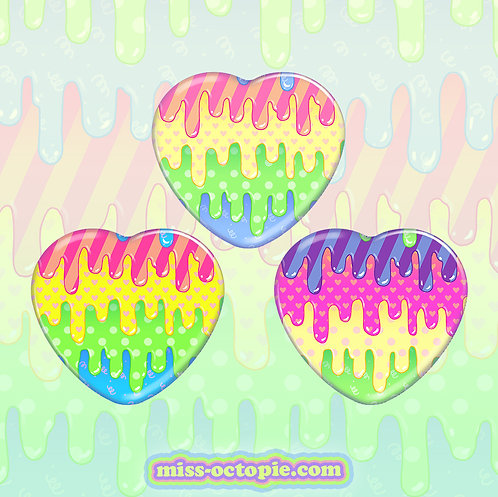 "Fashion Monster Drippy 2.25"" Heart Button"