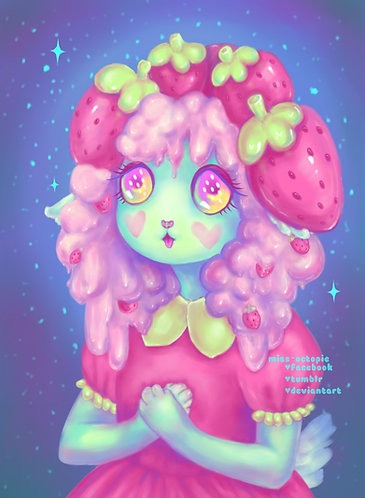 """Strawberry Cream Pup"" Art Print"