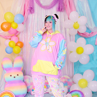 """💐 Pink """"Daisy Cute"""" Color Block Pullover Hoodie 💐 Pink/Yellow """"Daisy Cute"""" Sweatpants"""