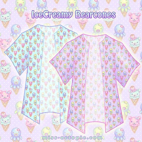 """IceCreamy Bearcones"" Chiffon Kimono Peignoir"