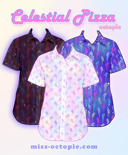"""Celestial Pizza"" Button-Up Shirt"