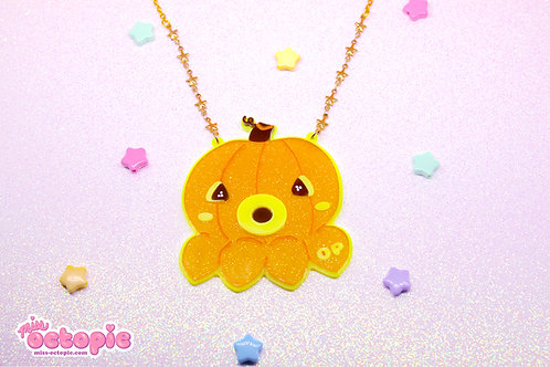 OctoPumpkin Large Glitter Necklace
