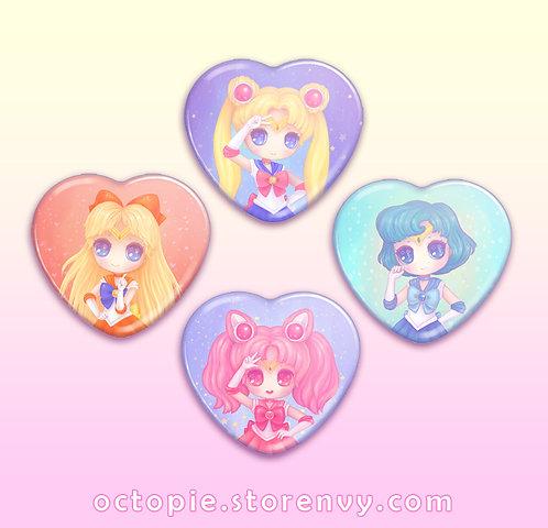 """Sailor Moon 2.25"""" Heart Button"""