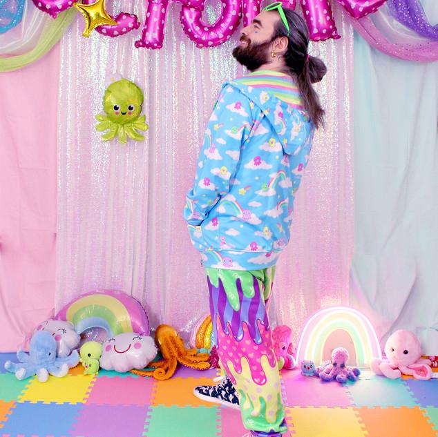 "🌈 ""DreamyOcto"" Hoodie 🌈 Dark ""Fashion Monster"" Drippy Jogger Sweatpants 🌈 ""Lil' Ghosties"" Hi-Top Shoes"