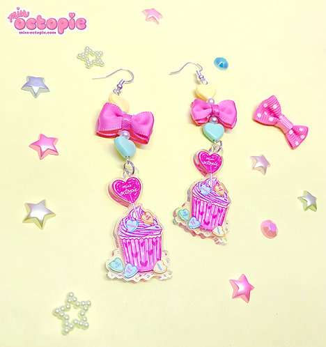 """Lovely Candy Heart Cupcake"" Dangle Earrings"
